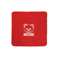 Moschino Kids bear and logo print blanket - Red
