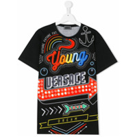 Young Versace TEEN printed T-shirt - Black