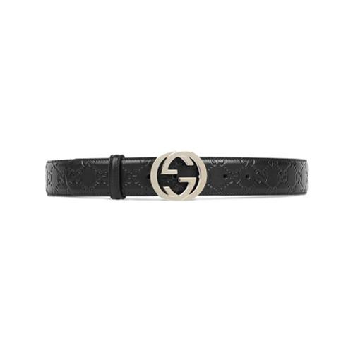 Imagen principal de producto de Gucci cinturón de piel con hebilla de G Gucci Signature - Negro - Gucci