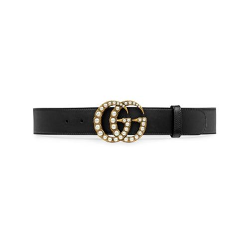 Imagen principal de producto de Gucci cinturón con Doble G con apliques perlados - Negro - Gucci