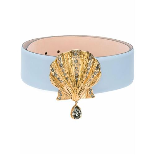 Imagen principal de producto de Versace cinturón con hebilla de concha marina - Azul - Versace