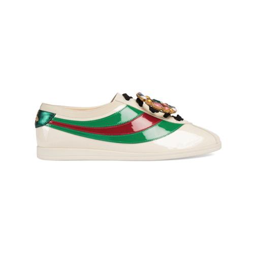 Imagen principal de producto de Gucci zapatilla deportiva Falacer de piel de charol con tribanda web - Blanco - Gucci