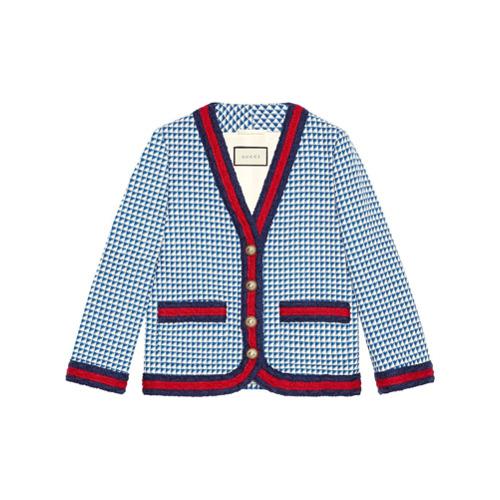 Imagen principal de producto de Gucci chaqueta de lana con motivo Web - Azul - Gucci