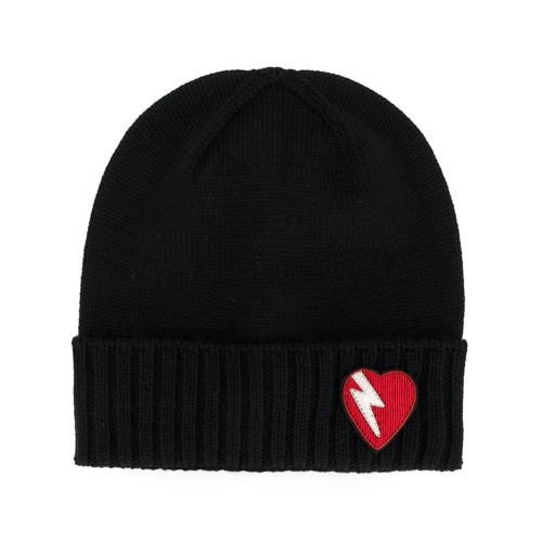 Saint Laurent gorro con parche de corazón y rayo - Negro