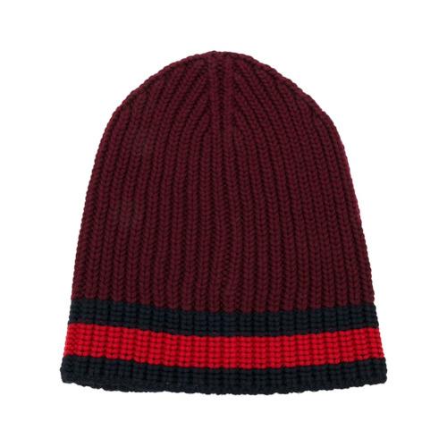 Gucci gorra de punto con ribete Web - Rojo