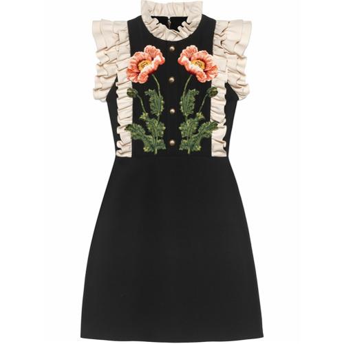 Imagen principal de producto de Gucci vestido con bordado floral - Negro - Gucci
