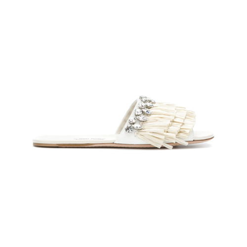 Imagen principal de producto de Miu Miu sandalias con ribete de volantes - Blanco - Miu Miu