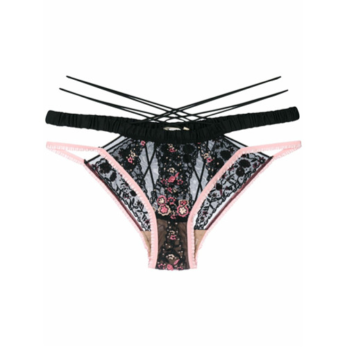 Imagen principal de producto de For Love And Lemons bragas bordadas con tiras - Negro - For Love And Lemons