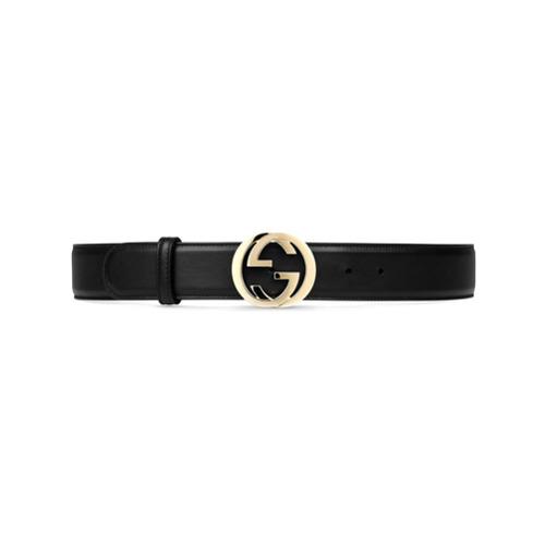 Imagen principal de producto de Gucci cinturón de piel con hebilla G entrelazada - Negro - Gucci