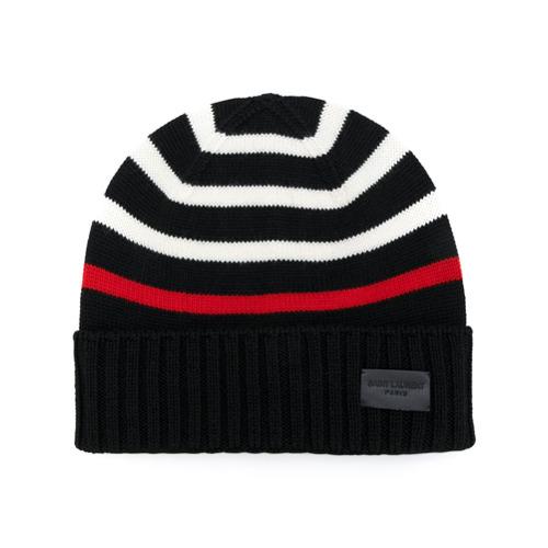 Saint Laurent gorra de punto a rayas - Negro