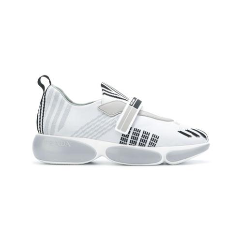 Imagen principal de producto de Prada zapatillas con detalles de punto - Blanco - Prada