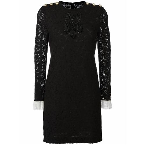 Imagen principal de producto de Gucci vestido de encaje con bordado de cuentas - Negro - Gucci