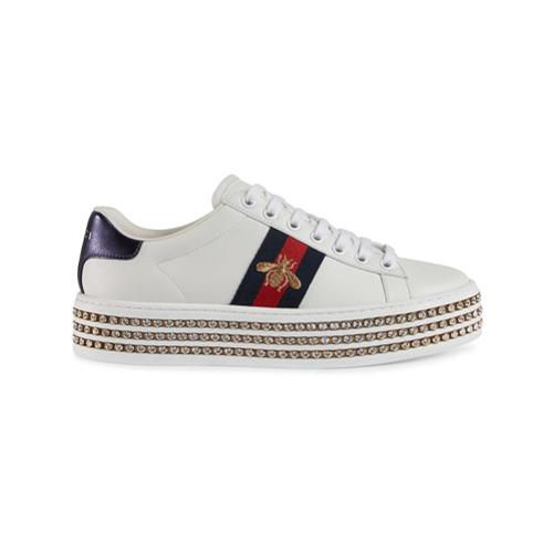 Imagen principal de producto de Gucci zapatillas Ace con cristales - Blanco - Gucci