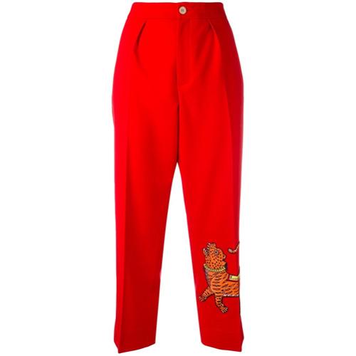 Imagen principal de producto de Gucci pantalones con bordado de tigre - Rojo - Gucci
