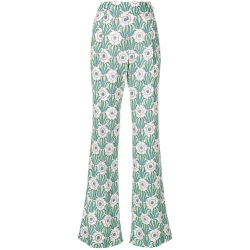 Imagen principal de producto de Prada pantalones acampanados con estampado floral - Verde - Prada
