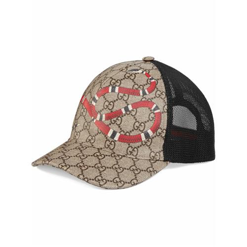 Gucci gorra de béisbol GG Supreme con estampado de serpiente real - Nude Y Neutro