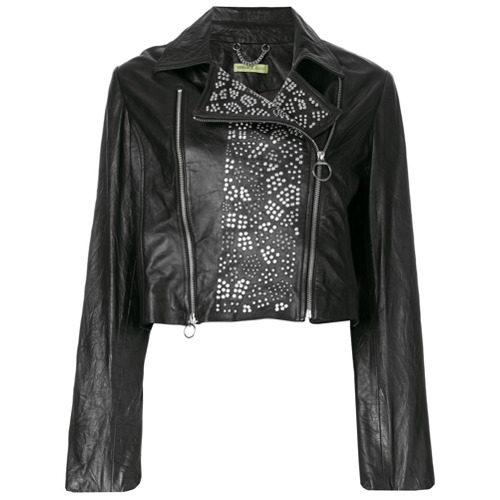 a431db6dbb8b Versace Jeans chaqueta biker con apliques - Negro