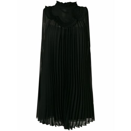 Imagen principal de producto de Prada vestido plisado con volantes en la pechera - Negro - Prada