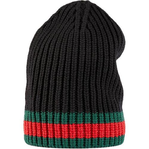 Gucci gorro de lana con detalle Web - Negro
