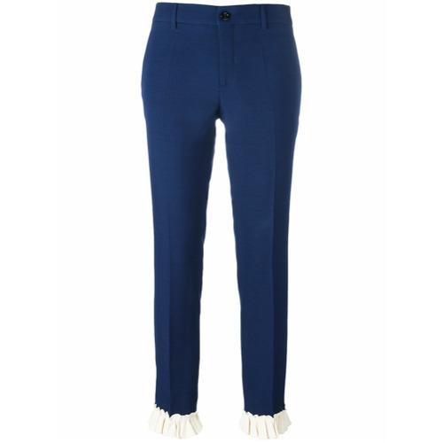 Imagen principal de producto de Gucci pantalones de corte slim y detalle de volantes - Azul - Gucci