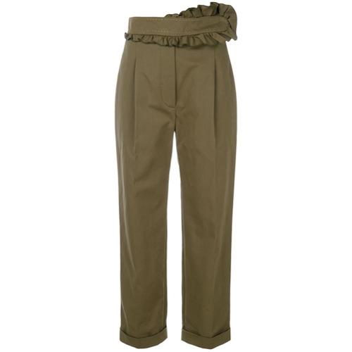 Imagen principal de producto de Carven pantalones con ribete de volantes - Verde - Carven
