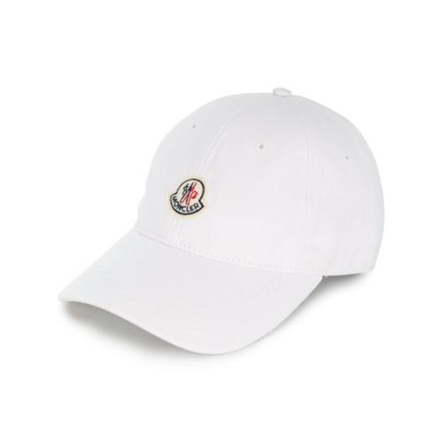 Moncler gorra de béisbol con parche del logo - Blanco
