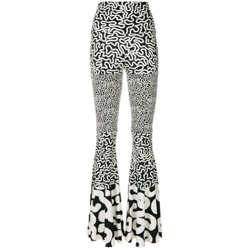 Imagen principal de producto de Norma Kamali pantalones acampanados con estampado - Blanco - Norma Kamali