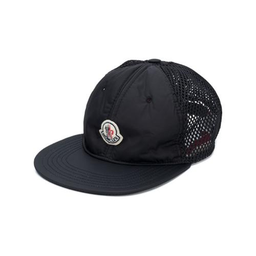 Moncler gorra con parche del logo - Negro