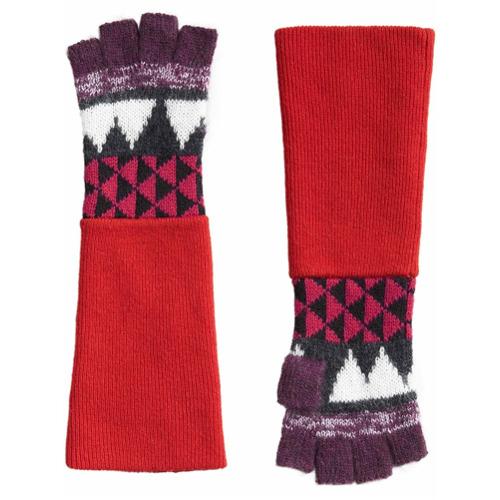 Imagen principal de producto de Burberry guantes sin dedos con motivo geométrico - Rojo - Burberry