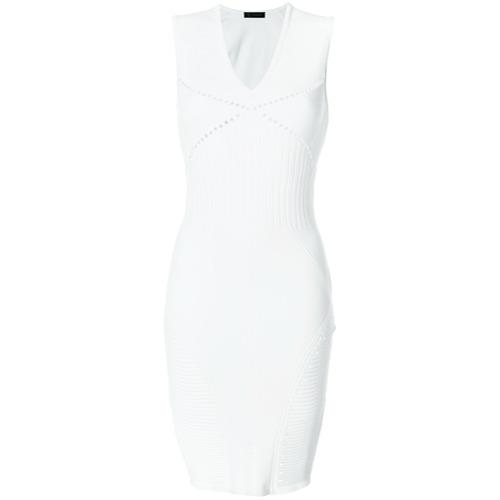 Imagen principal de producto de Versace vestido de canalé con cuello en V - Blanco - Versace