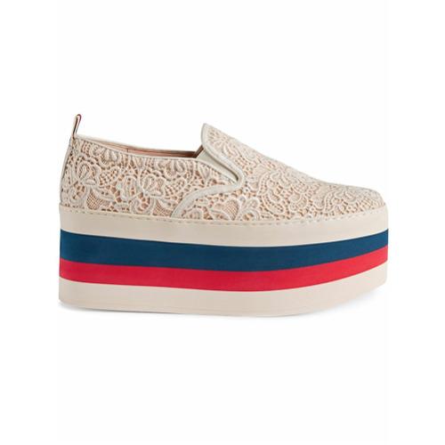 Imagen principal de producto de Gucci zapatillas de encaje con plataforma - Blanco - Gucci