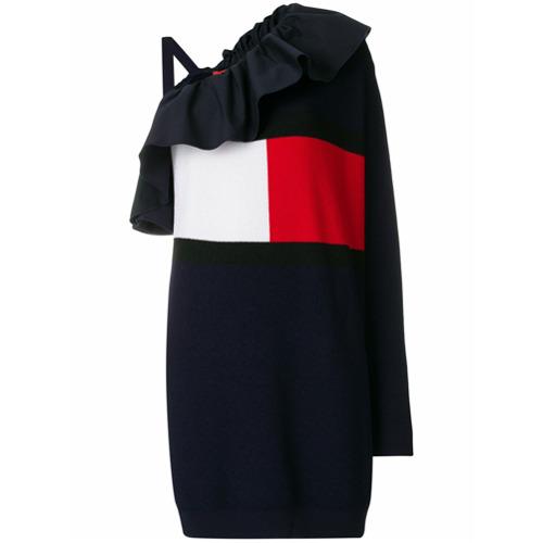 Imagen principal de producto de Tommy Hilfiger vestido asimétrico con logo - Azul - Tommy Hilfiger