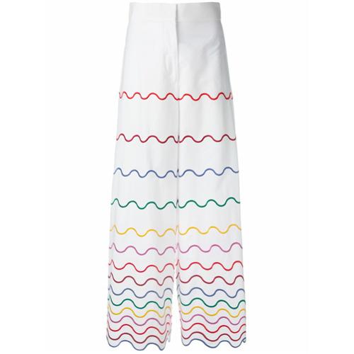 Imagen principal de producto de Sara Battaglia pantalones con ribetes ondulados - Blanco - Sara Battaglia