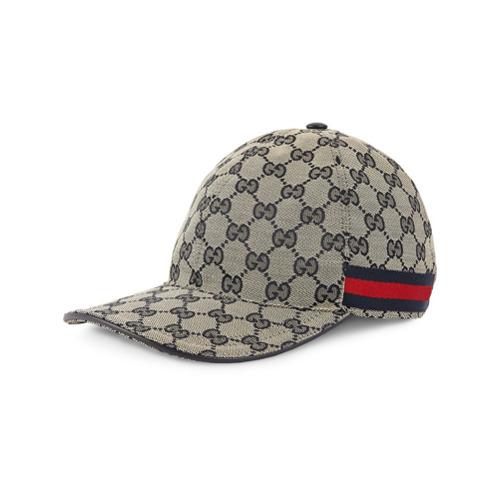 Gucci gorra de béisbol de lona original GG con tribanda - Azul