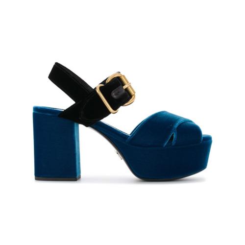 Imagen principal de producto de Prada sandalias de plataforma de terciopelo - Azul - Prada