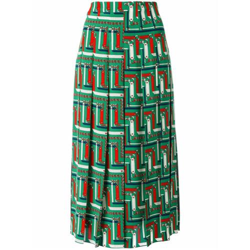 Imagen principal de producto de Gucci falda midi con estampado encadenado - Verde - Gucci