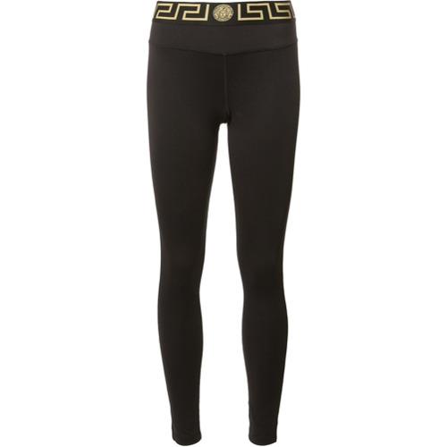 Imagen principal de producto de Versace leggings con cinturilla con detalle de llave griega - Negro - Versace