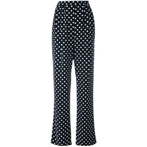 Imagen principal de producto de Michael Michael Kors pantalones holgados de lunares con pliegues - Negro - MICHAEL Michael Kors