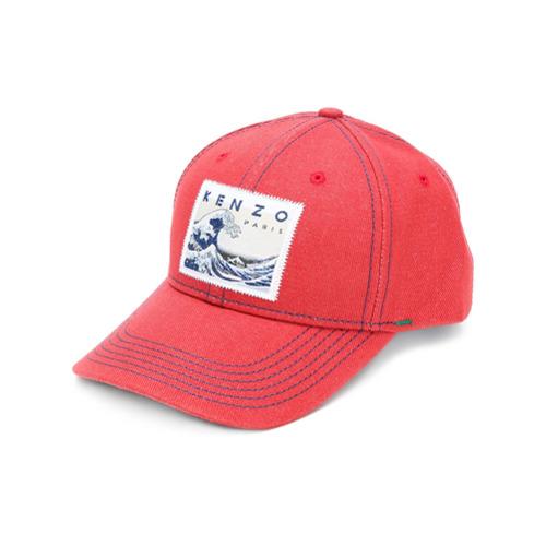 Kenzo gorra Memento con parche de onda - Rojo