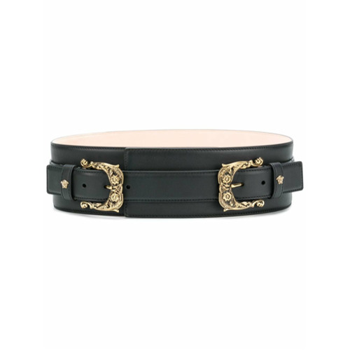 Imagen principal de producto de Versace cinturón con doble hebilla barroca - Negro - Versace