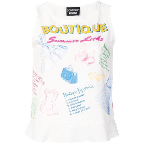 Imagen principal de producto de Moschino camiseta de tirantes boutique estampada - Blanco - Moschino