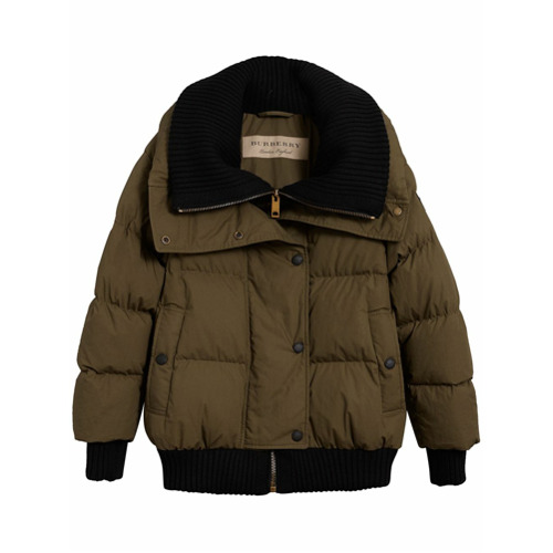 Imagen principal de producto de Burberry chaqueta acolchada con ribetes de canalé - Verde - Burberry