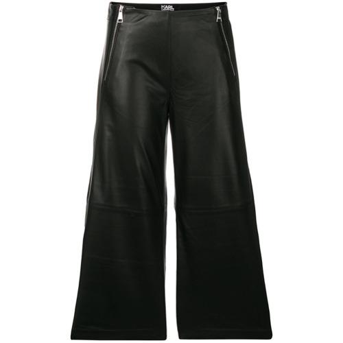 Imagen principal de producto de Karl Lagerfeld falda pantalón de cuero con cremalleras - Negro - KARL LAGERFELD