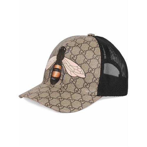 Gucci gorra de béisbol GG Supreme con estampado de abeja - Nude Y Neutro