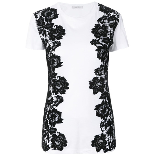 Imagen principal de producto de Valentino camiseta con paneles de encaje - Blanco - Valentino