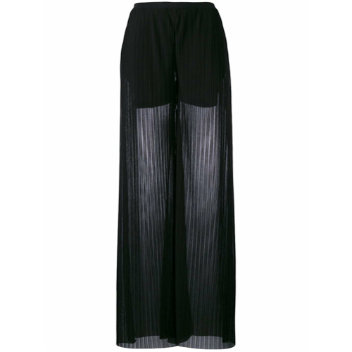 Imagen principal de producto de Emporio Armani pantalones con corte ancho - Negro - Emporio Armani