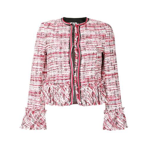 Imagen principal de producto de Karl Lagerfeld chaqueta corta de bouclé - Rojo - KARL LAGERFELD