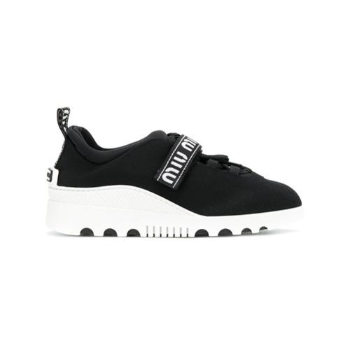 Imagen principal de producto de Miu Miu zapatillas con tira con logo - Negro - Miu Miu