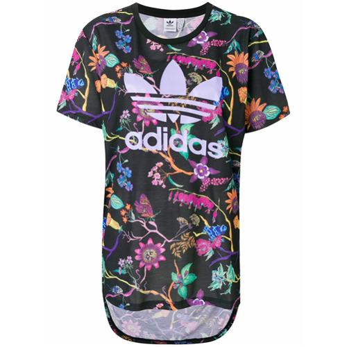Imagen principal de producto de Adidas camiseta floral con logo estampado - Negro - Adidas