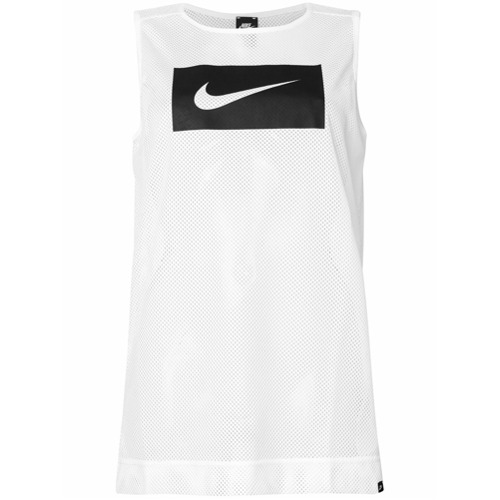 Imagen principal de producto de Nike top de tirantes con logo estampado y malla - Blanco - Nike